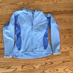 Periwinkle blue north face jacket with hood